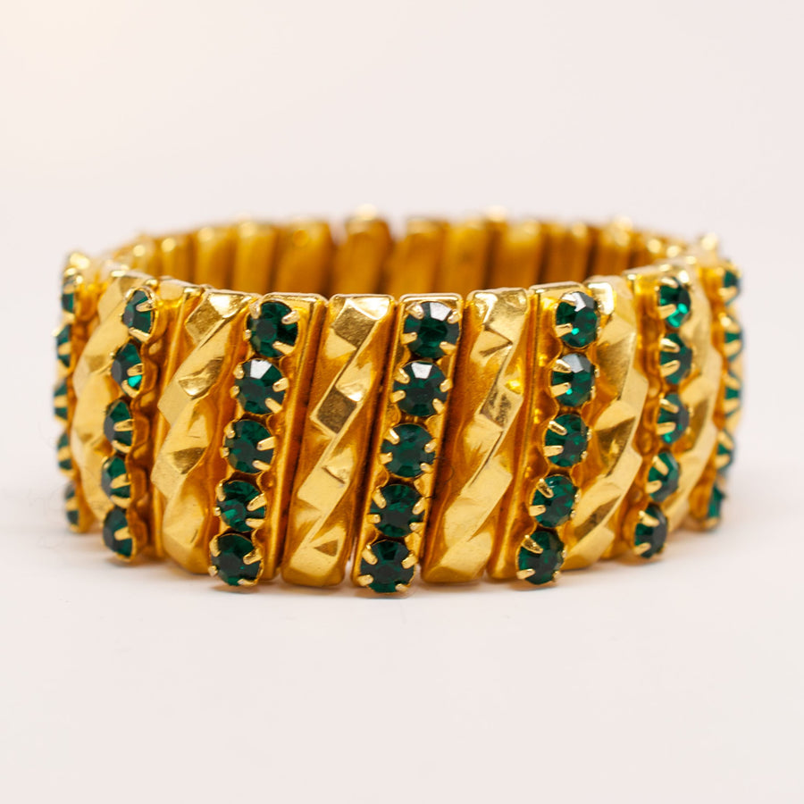 Unsigned 1940's Gold Gilt Bracelet with Green Detail