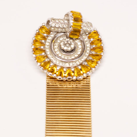 Unsigned Deco Gold Bracelet with Yellow and Crystal Clasp