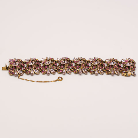 Hollycraft 1950's Violet and Crystal Bracelet