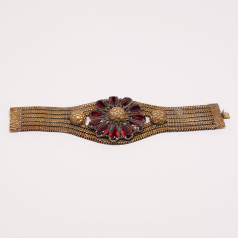 Unsigned Metal Mesh Bracelet with Flower Detail