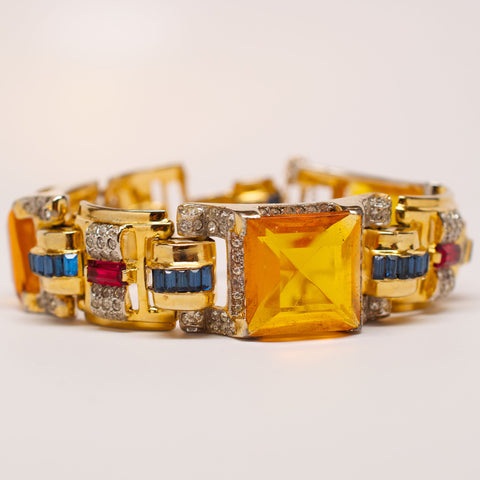 Unsigned Yellow Gem with Crystal Detail Bracelet