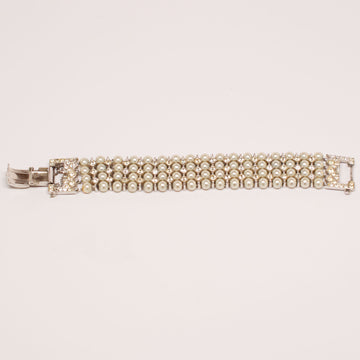 Unsigned 1950's Faux Pearl Multi Strand Bracelet