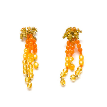 Miriam Haskell Orange Crystal and Beaded Earrings