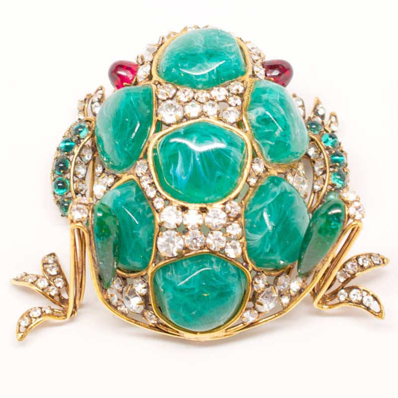Iradj Moini Frog Figural Crystal and Cabochon Brooch