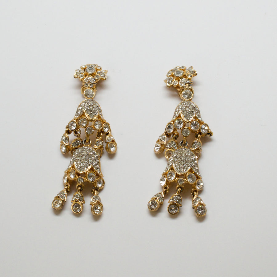 Kenneth Jay Lane 1960's Crystal Tiered Earrings