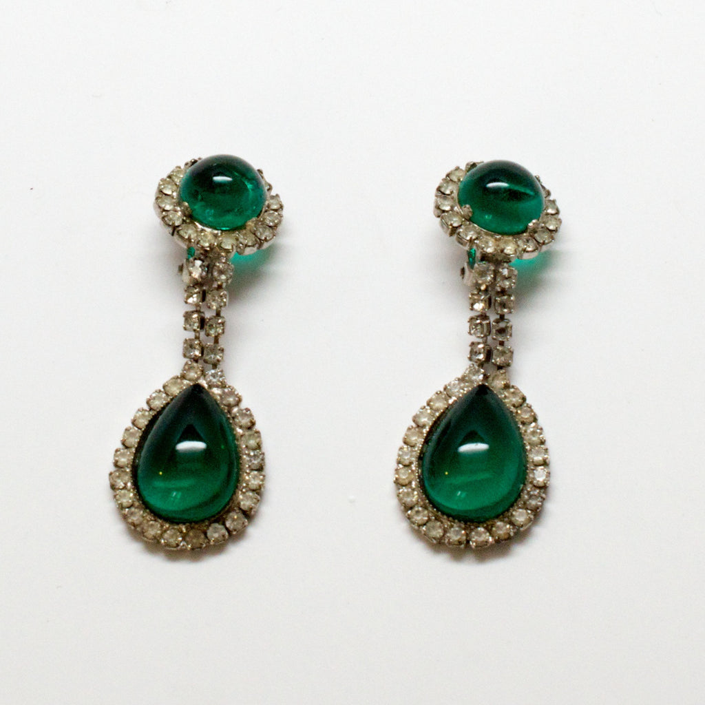 William deLillo Green Cabochon and Pave Earrings