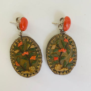 Chinese jade and coral earrings