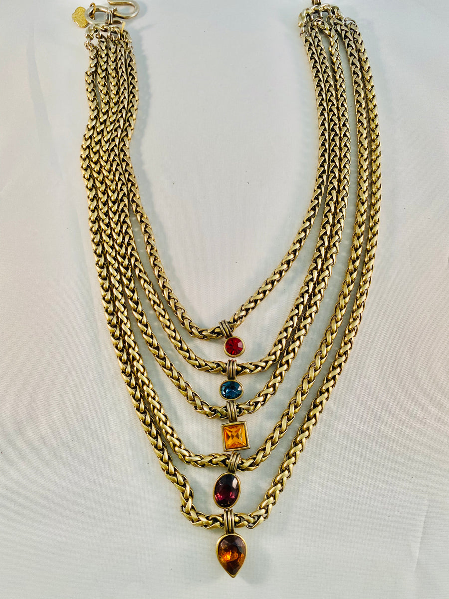 Yves Saint Laurent Five Strand Gold Chain with Jeweled Charms