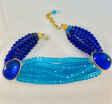 Iradj Moini 1990's Two Tone Blue Choker Beaded Necklace