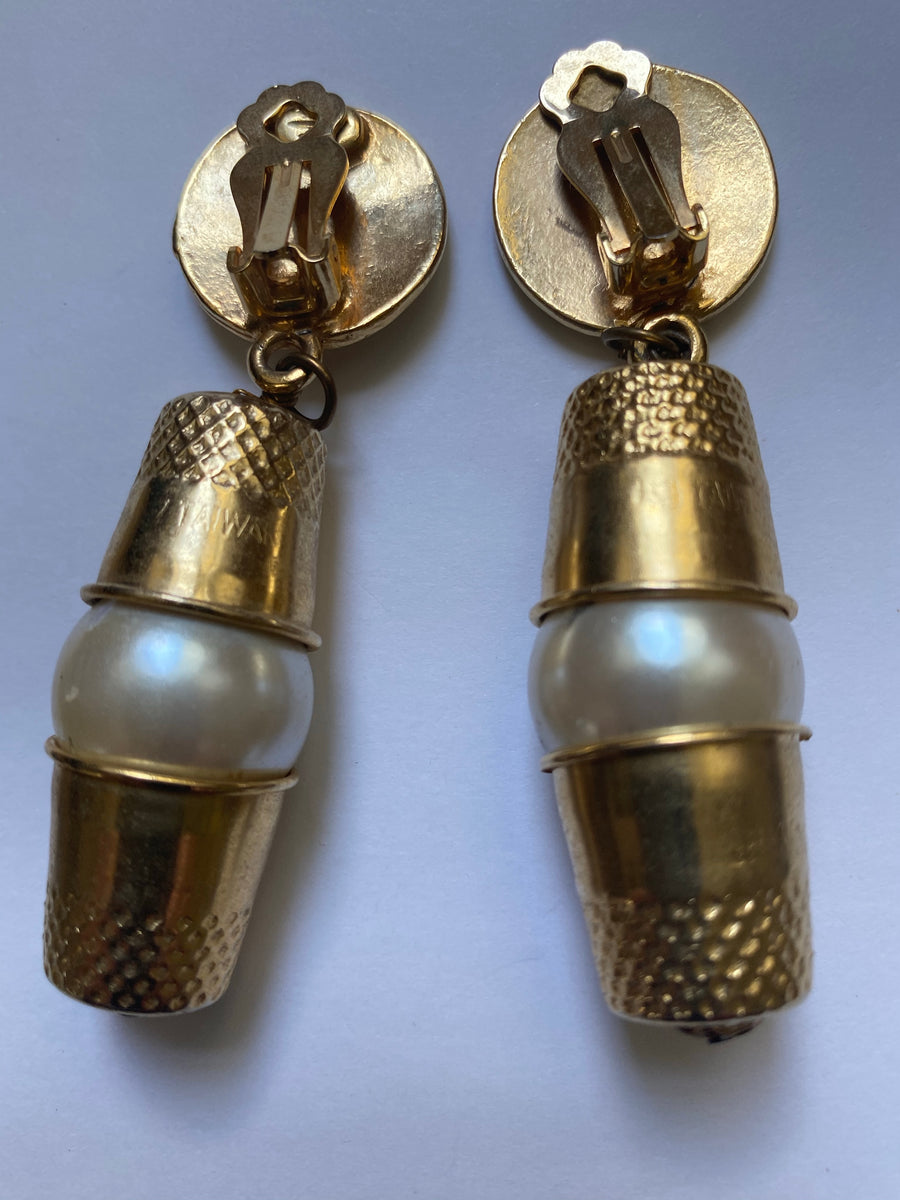 Moschino thimble and pearl earrings
