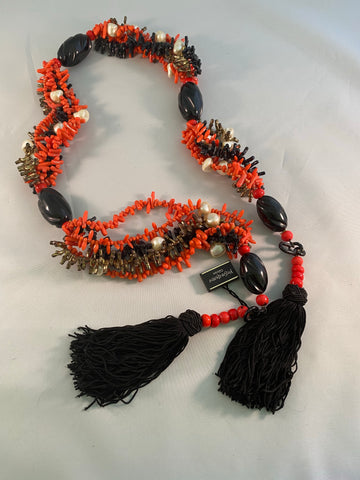 Yves Saint Laurent Paris Faux Coral and Jet Black Tassel Necklace