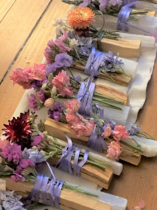 Selenite Wand, Palo Santo & Flowers-Nomads and Settlers-Amethyst Goddess