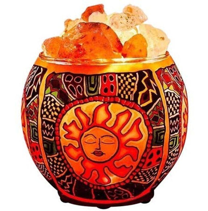 Tribal Sun Salt Lamp Diffuser With UL Listed Dimmer Cord-Himalayan CrystalLitez & EssentialLitez-Amethyst Goddess