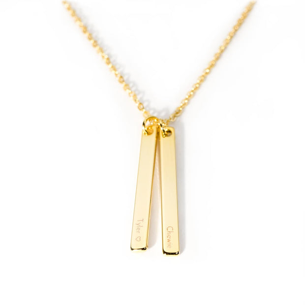 Double Vertical Bar Necklace