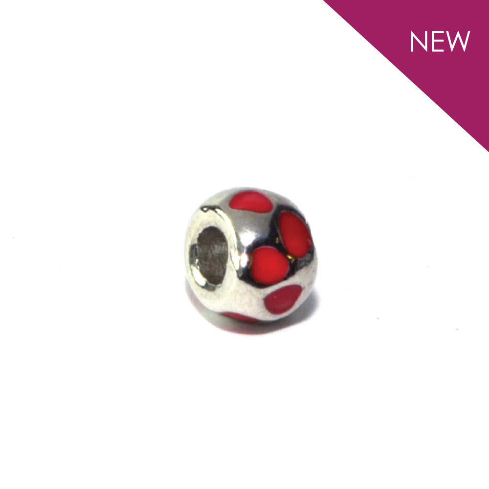 Samantha - Silvertone Red Heart Rhodium Filled Charm from IRIS