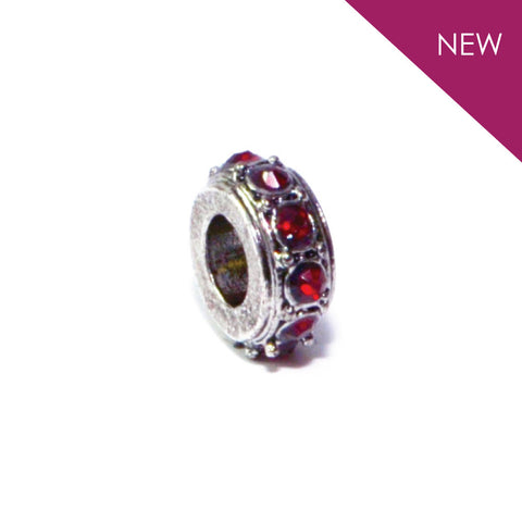 Summer - Silvertone Red Stone Rhodium Filled Charm from IRIS