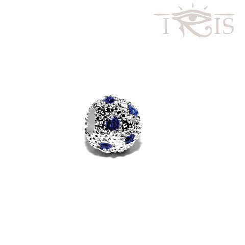 Karoline - Blue Crystal Osage Silver Filled Charm from IRIS
