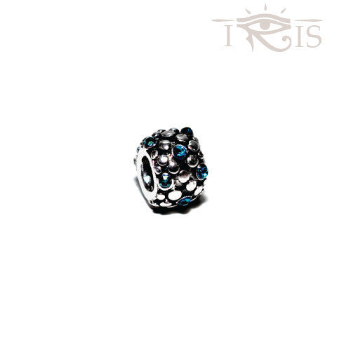 Monette - Blue Crystal  Grape Seed Silver Filled Charm from IRIS