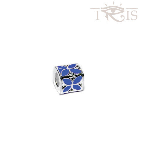 Christa - Blue Enamel Flower Box Silver Filled Charm from IRIS