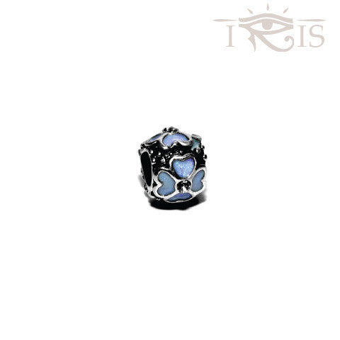 Marissa - Blue Enamel Four Leaf Silver Filled Charm from IRIS