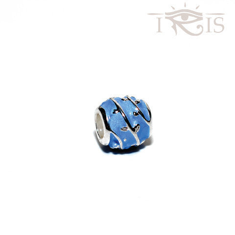 Delana - Blue Enamel Rose Vine Silver Filled Charm from IRIS