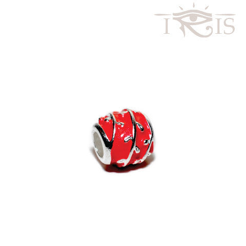 Diana - Coral Enamel Rose Vine Silver Filled Charm from IRIS