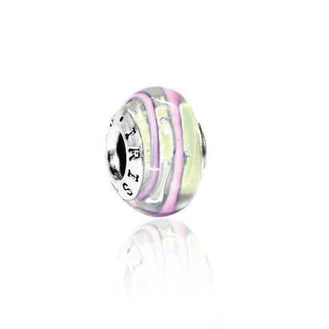 Karen - Cream Pink Striped Murano Glass Bead from IRIS