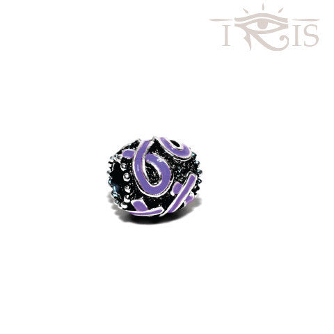 Lauren - Enamel Purple Ribbon Silver Filled Charm from IRIS