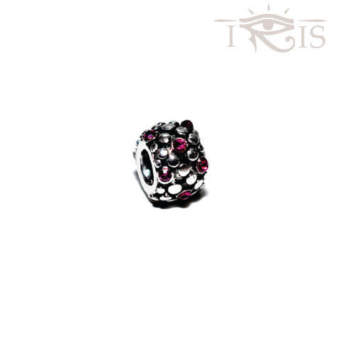 Natalie - Fuschia Crystal Grape Seed Silver Filled Charm from IRIS