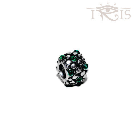 Brit - Green Crystal Grape Seed Silver Filled Charm from IRIS