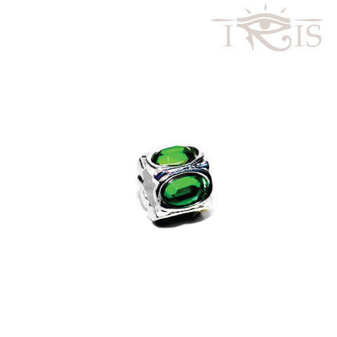 Ariel - Green Crystal Jewel Silver Filled Charm from IRIS