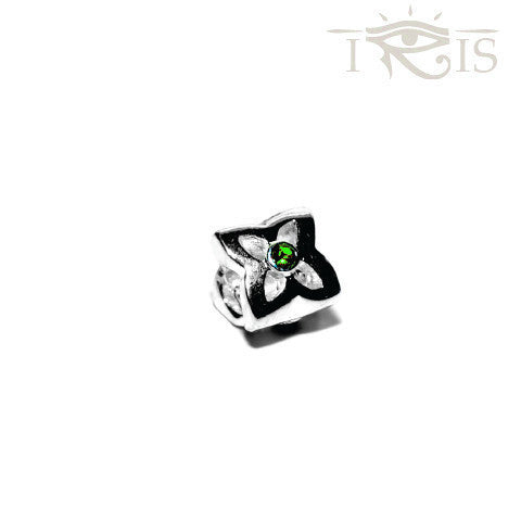 Christi - Green Crystal Leaf Flower Silver Filled Charm from IRIS