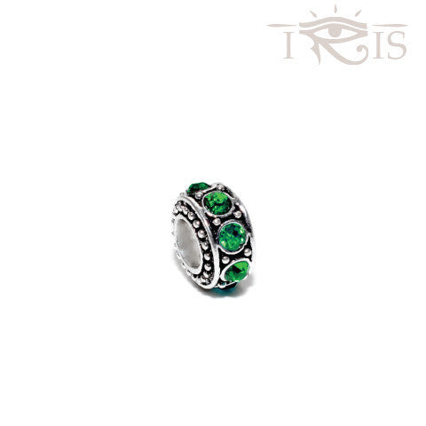 Gena - Green Crystal Queen Ring Silver Filled Charm from IRIS