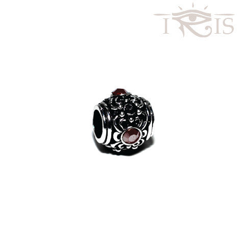 Ayesha - Maroon Crystal Flower Silver Filled Charm from IRIS