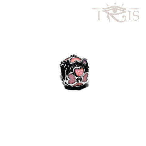 Marlene - Peach Enamel Four Leaf Silver Filled Charm from IRIS