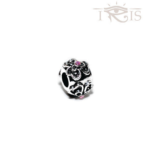 Danielle - Pink Crystal  Flower Silver Filled Charm from IRIS