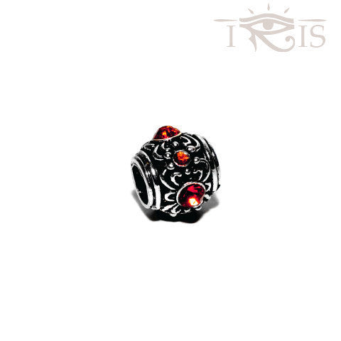 Candice - Red Crystal Flower Silver Filled Charm from IRIS
