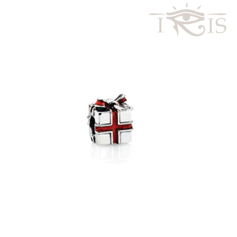 Cadeau - Red Enamel Chirstmas Gift  Silver Filled Charm from IRIS