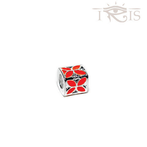 Charlene - Red Enamel Flower Box Silver Filled Charm from IRIS