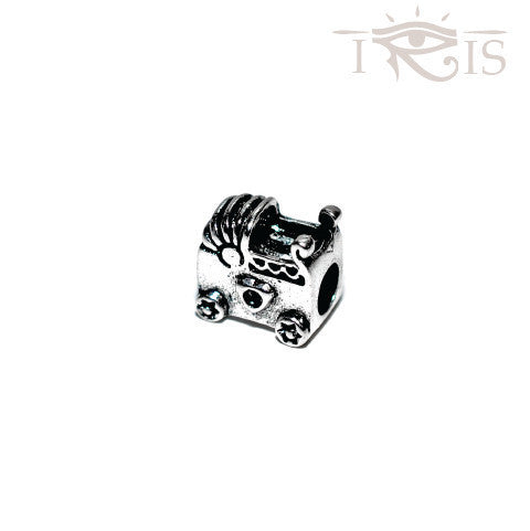 Peggy - Silvertone Baby Carriage Silver Filled Charm from IRIS