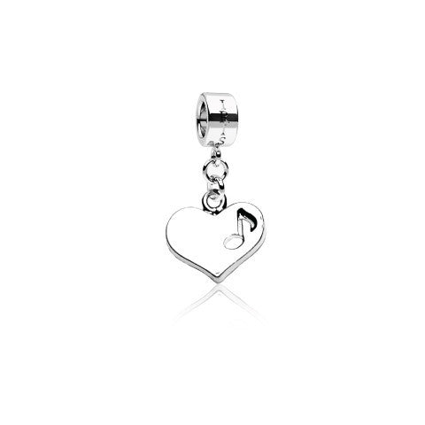 Heart Strings - Silvertone Heart Music Note Rhodium Filled Charm from IRIS