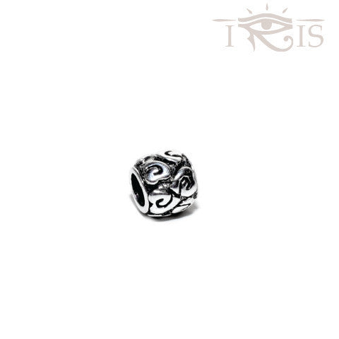 Jackie - Silvertone Heart Swirl Silver Filled Charm from IRIS