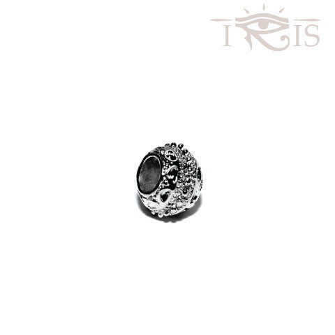 Alexandra - Silvertone Rose Crown Rhodium Filled Charm from IRIS