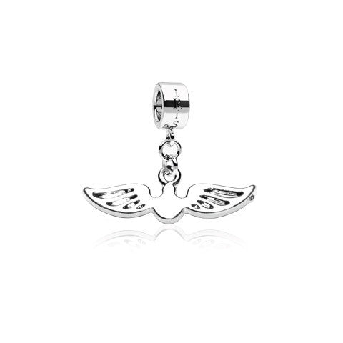 Snitch - Silvertone Wings Rhodium Filled Charm from IRIS