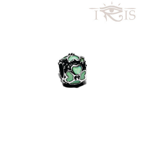 Margaret - Teal Enamel Four Leaf Silver Filled Charm from IRIS