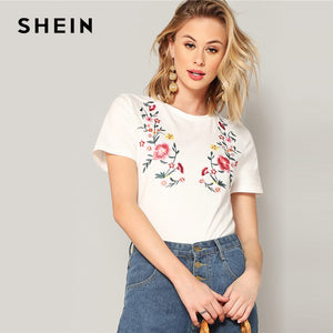 cd75424cea SHEIN White Floral Embroidered Short Sleeve Tee 2019 Summer Women  Minimalist Round Neck Highstreet Short Sleeve Tshirt Tops
