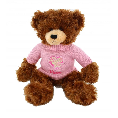 Chocolate Brandon Bear with Sequin heart sweater 12