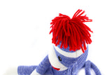 Sock Monkey Stuffed Animal Blue