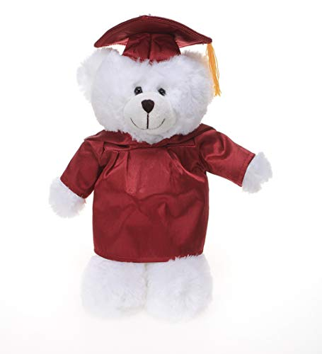 Plushland White Bear Plush Stuffed Animal for Graduation Day (Red Cap and Gown)