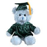 Soft Plush Blue Sitting Teddy Bear in Graduation Cap & Gown Stuffed Animal